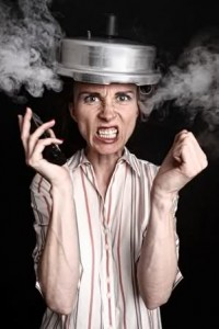 Angry lady with steaming pot